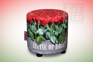 Hocker Rond - Kist met Rozen