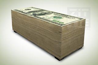 Hockerbank - 100 dollar biljetten stapel